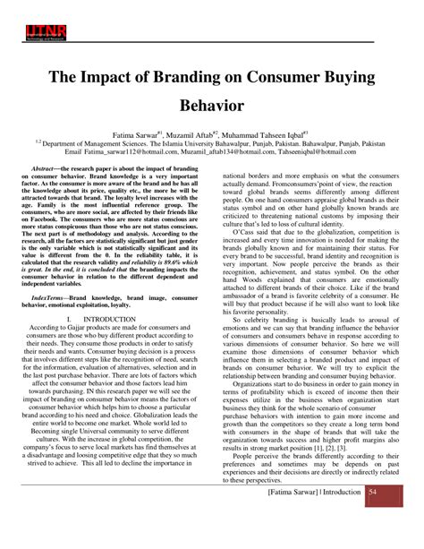 (pdf) The Impact Of Branding On Consumer Buying