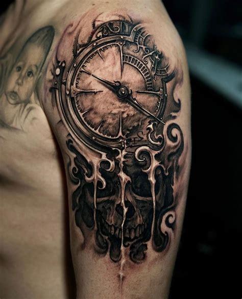 clock skull melting  tattoo design ideas