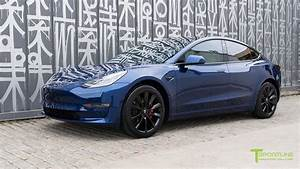 "Deep Blue Metallic Tesla Model 3 upgrades with 19"" TST Wheels and Uber White Diamond Interior ..."