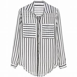Black And White Vertical Striped Curved Hem Pocket Blouse ...