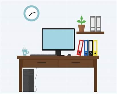 Desk Office Vector Computer Illustration Illustrations Clip