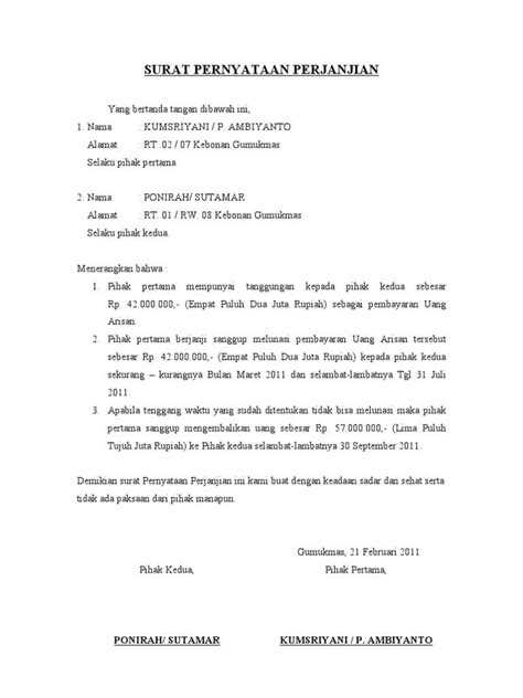 contoh surat pernyataan diri kesalahan sekolah