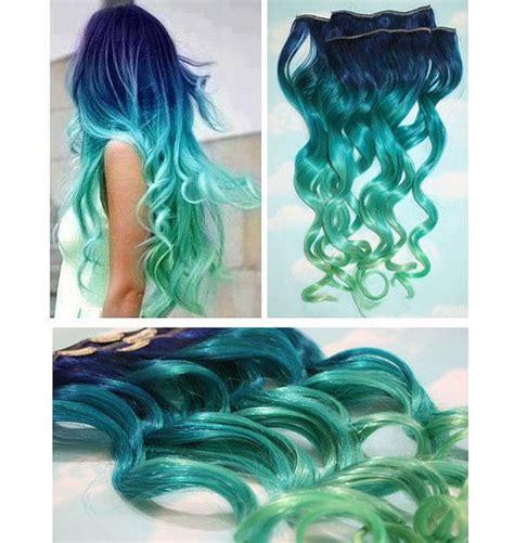 Blue Lagoon Blue Green Ombre Dip Dyed Human Hair