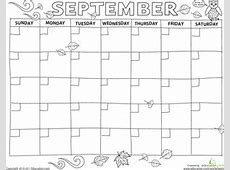 Create a Calendar September Worksheet Educationcom