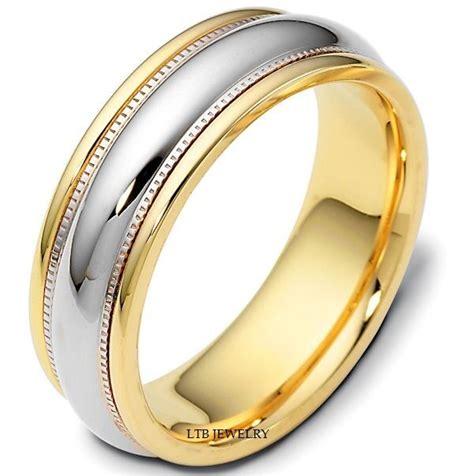 14k two tone gold mens wedding bands shiny finish 7mm wedding rings ebay