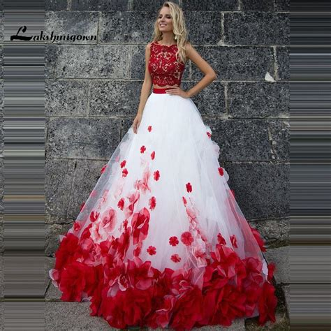 New Style Two Piece Wedding Dresses With Flowers Custom