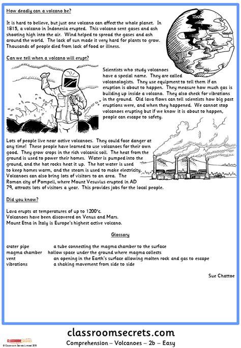 Volcanoes Comprehension  Classroom Secrets