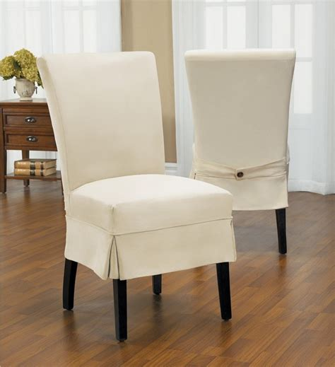 Modern Chair Slipcovers Duck Mid Pleat Relaxed Fit Dining Chair Slipcover With