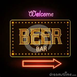 Neon Sign Beer Bar Stock Vector Image