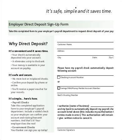 direct deposit form template    documents