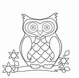 Owl Coloring Clipart Line Cute sketch template