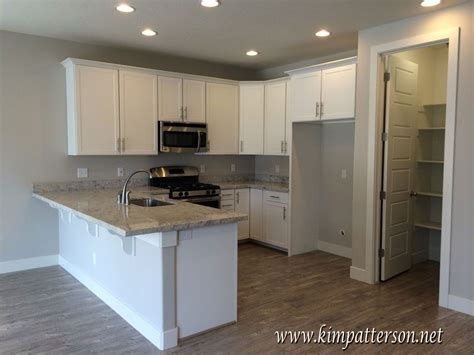 gray grey walls light wood floors white cabinets and