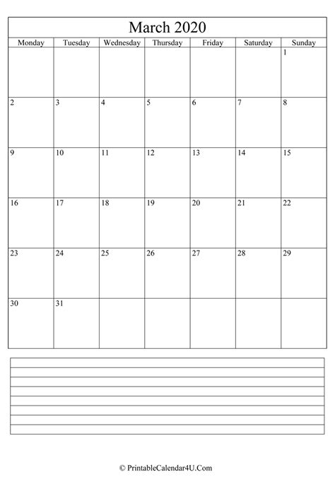 printable march calendar   notes portrait