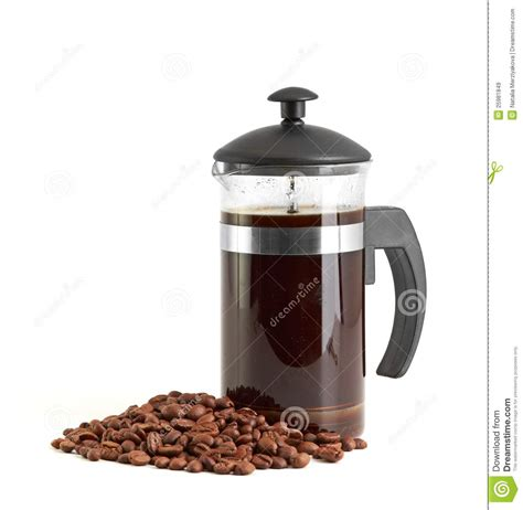 french press coffee maker on white background royalty free