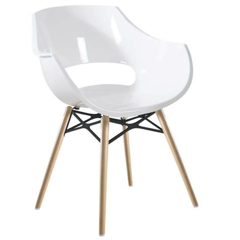 chaise coque blanche chaise blanche opal wox pieds bois naturel achat vente