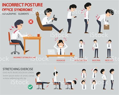 posture bureau incorrect posture and office infographic stock