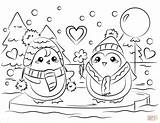 Coloring Penguin Couple Printable Penguins Valentine Couples Drawing Winter Holidays Categories Paper Crafts sketch template