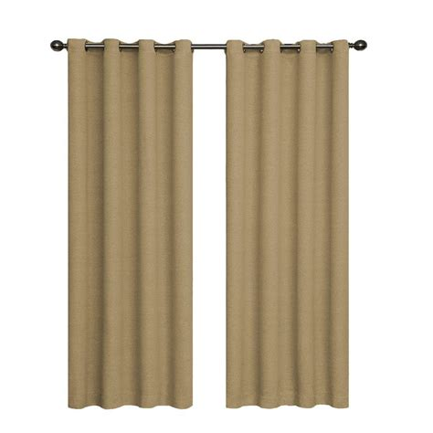 Eclipse Bobbi Blackout Tan Polyester Curtain Panel, 95 In