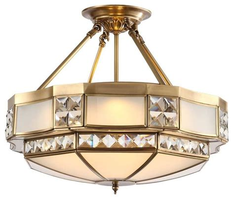 bronze finsh antique brass fixture glass semi flush mount