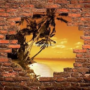 Mur Trompe L Oeil : sticker mural trompe l il mur de pierre coucher de soleil aux cara bes stickers muraux deco ~ Melissatoandfro.com Idées de Décoration