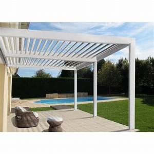 pergola adossee orient aluminium blanche 18 m2 leroy With photo carrelage terrasse exterieur 18 decoration amp eclairage leroy merlin
