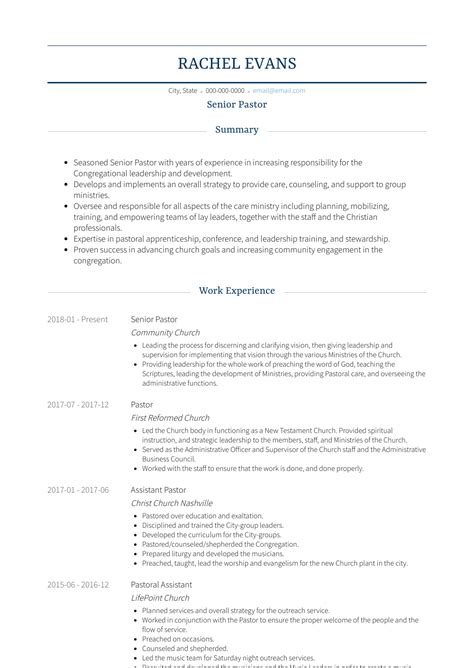 Pastor Resume Template lead pastor resume sles and templates visualcv