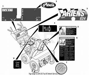 Ariens 932101  000101 -   St824  8hp Tec   24 U0026quot  Blower Parts Diagram For Decals  824