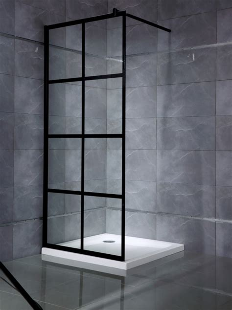svart duschvaegg med aluminiumsproejs badrum trygghandelse