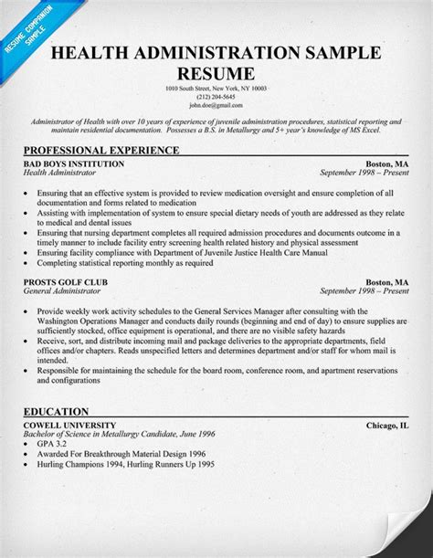 Healthcare Administrator Resume free health administration resume resumecompanion resume sles across all industries