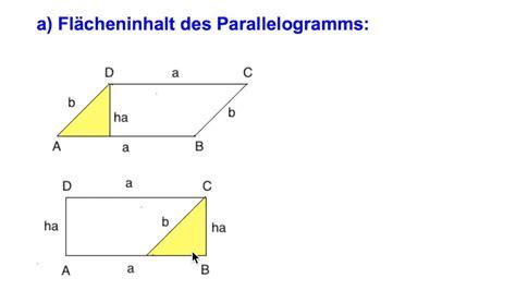 parallelogramm flaecheninhalt und umfang  youtube