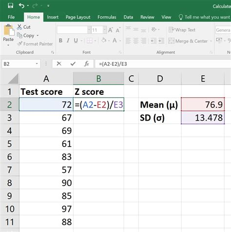 excel calculate score scores value mean sd quickly easily data