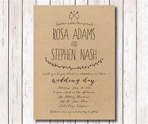 rustic wedding invitation kraft paper invitation With paper to print wedding invitations on