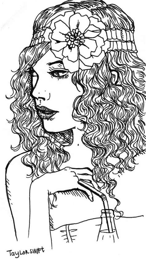 taylor swift  flower   hair coloring page taylor