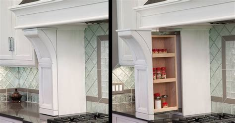spice rack pullout   range hood columns cabinet