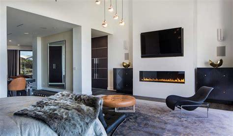 modern mansion linear gas fireplace  flat screen tv