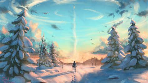 wallpaper man winter tree hd art
