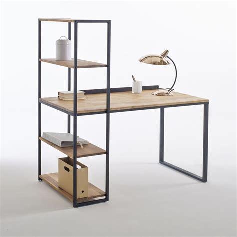 bureau hiba bureau bibliothèque métal et chêne massif hiba noir bois