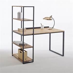 bureau bibliotheque metal et chene massif hiba noir bois With marvelous photos de meubles de salon 13 bureau www style deco industriel fr