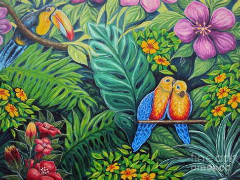 tablecloths for umbrella parrots jungle love scene painting by drinka mercep