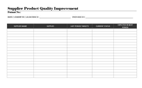 quality improvement report template supplier product quality improvement format sles word document
