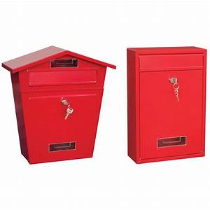 red post box steel letter mail square house wall mountable With letter lock box
