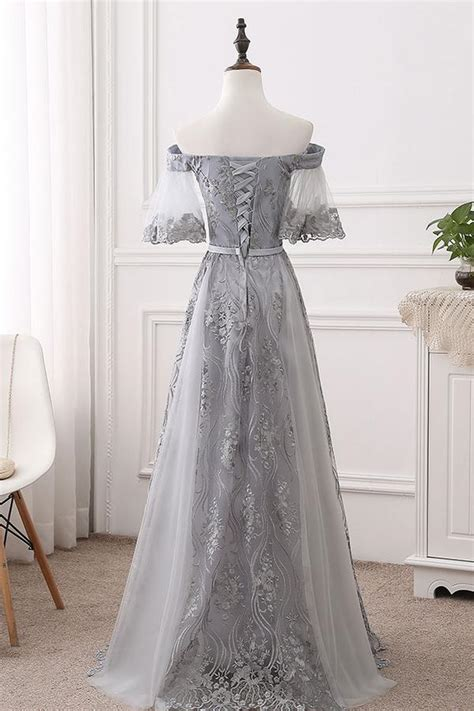 gray tulle lace long prom dress gray bridesmaid dress