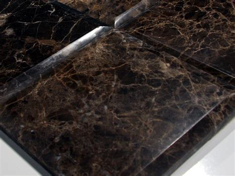 Dark Emperador Marble Polish 6X6 Heavy Bevel Tile. Large