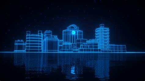 neon blue light 3d architecture hd wallpaper