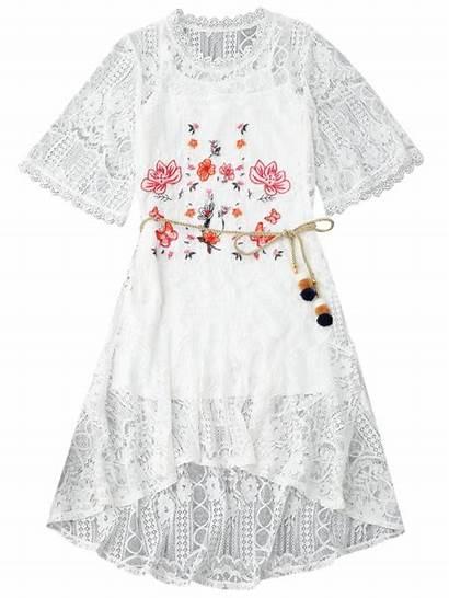 Lace Floral Rope Belt Tank Dresses Ncocon