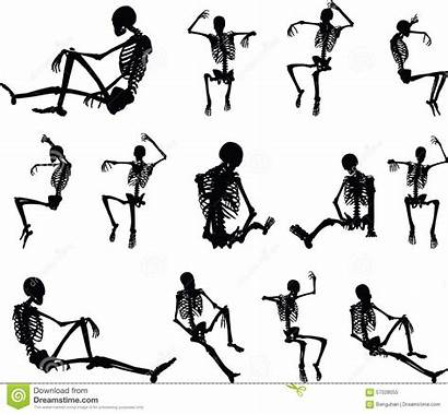 Skeleton Silhouette Vector Sitting Pose Clipart Background