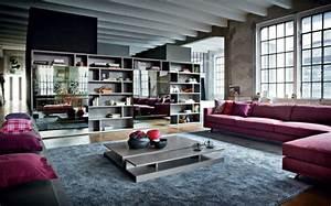 1001 variantes de la deco industrielle avec plusieurs With tapis moderne avec canapé d angle violet