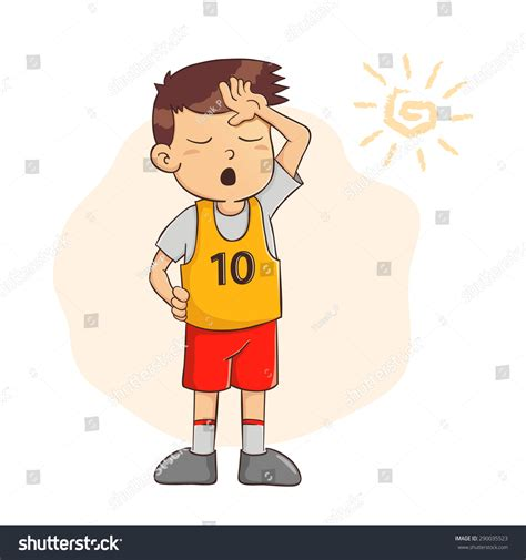 vector illustration young boy feeling tired stock vector