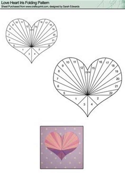 love heart iris folding pattern cup craftsuprint