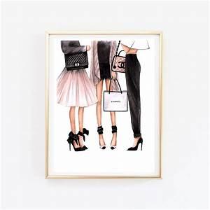 fashion illustration chanel art chanel print fashion wall art With fashion wall art